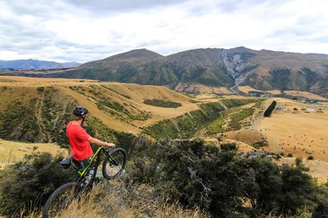 Mountainbiker enjoys the view over Rabbit Ridge. Copyright Gibbston Valley Winery 2013. All rights reserved.