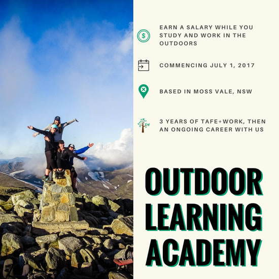 The Outdoor Learning Academy - Outdoor Educators (Work + TAFE Opportunity)